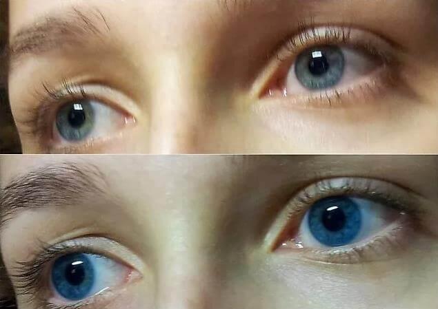 Оттеночные контактные линзы на глазах